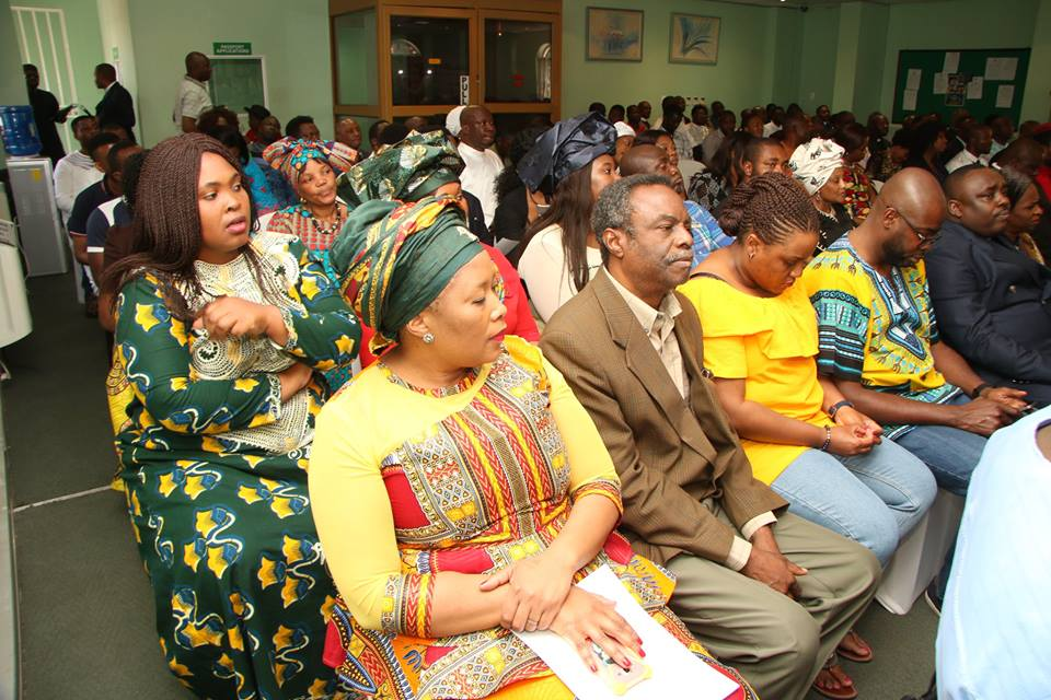 President of the United Wives of Nigeria South Africa Mrs Thelma Okoro with other South African wives sitting behind her