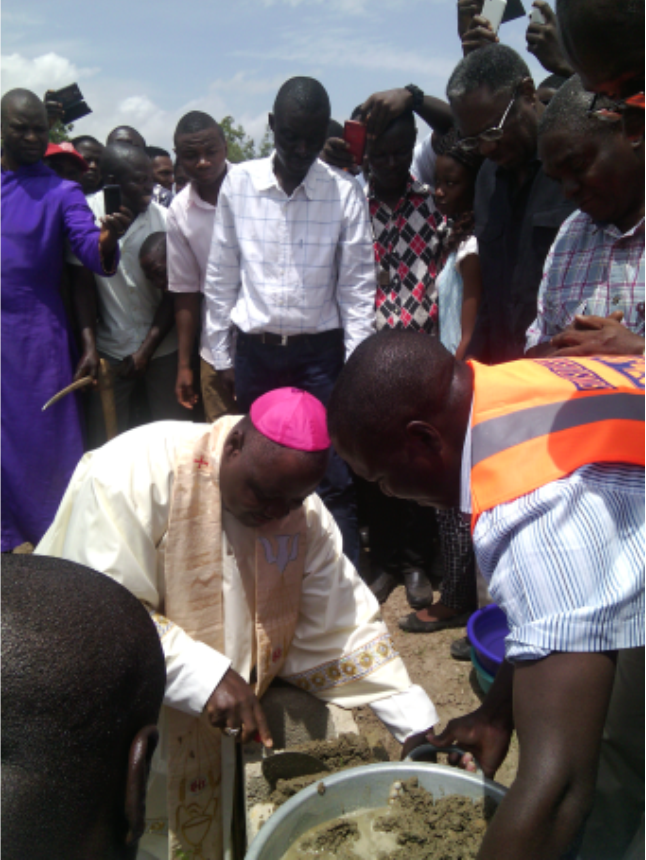The Catholic Arch Bishop of Jos, Most Revd Ignatius A. Kaigama, laying foundation in Kwan side of the new Cathedral.